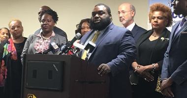 Pennsylvania Legislative Black Caucus Chairman and state Rep. Jordan Harris speaks about a gun violence reduction initiative.