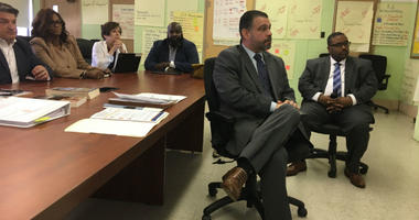 Pedro Rivera, the Pennsylvania secretary of education, visited two Philadelphia elementary schools Wednesday.