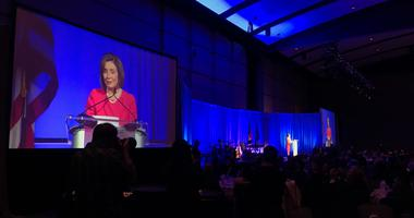 Speaker of the House Nancy Pelosi addresses an audience of hundreds at the Pa. Democratic Party's Inaugural Independence Dinner