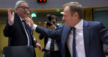 European Commission President Jean-Claude Juncker, left, greets European Council President Donald Tusk during a tripartite social summit at the Europa building in Brussels, Wednesday, March 20, 2019.