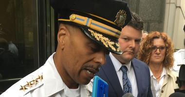 Philadelphia Police Commissioner Richard Ross speaks after the sentencing, alongside Officer Jesse Hartnett.