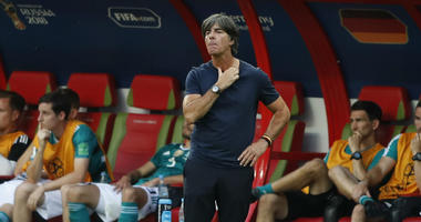 Germany head coach Joachim Loew looks on near the end of the group F match between South Korea and Germany, at the 2018 soccer World Cup in the Kazan Arena in Kazan, Russia, Wednesday, June 27, 2018. South Korea won the match 2-0.