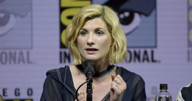 """In this July 19, 2018 file photo, Jodie Whittaker speaks at the """"Doctor Who"""" during Comic-Con International in San Diego."""