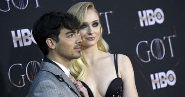 "In this April 3, 2019 file photo, Joe Jonas, left, and Sophie Turner attend HBO's ""Game of Thrones"" final season premiere at Radio City Music Hall in New York."