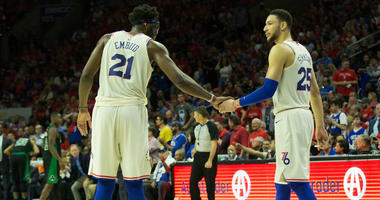 Philadelphia 76ers center Joel Embiid (21) and guard Ben Simmons (25)