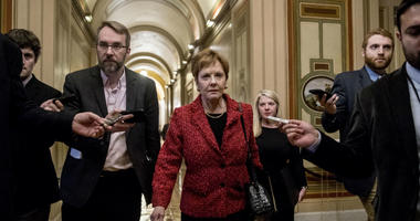 Rep. Kay Granger, R-Texas, ranking member of the House Appropriations Committee, speaks to reporters as she arrives for a closed-door meeting at the Capitol, Monday, Feb. 11, 2019, in Washington.