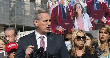 House Minority Leader Kevin McCarthy, R-Calif., joins supporters of President Donald Trump