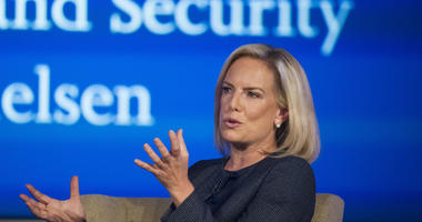 In this Sept. 5, 2018 file photo, Secretary of Homeland Security Kirstjen Nielsen speaks to George Washington University's Center for Cyber and Homeland Security, in Washington.