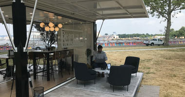 L. L. Bean has set up a temporary outdoor office space in Philadelphia's Navy Yard.