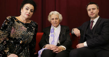 Holocaust survivor Anita Lasker-Wallfisch, center, her daughter Maya Jacobs Lasker-Wallfisch, left, and her grandson Simon Wallfisch, right.