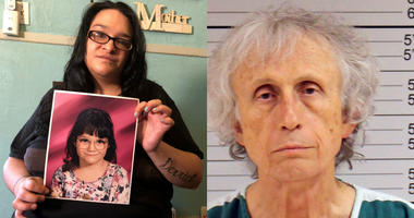 From left: Lee Ann Berkebile holds a photo of herself as a child, taken in her home in Johnstown, Pa.; Dr. Johnnie Barto, a pediatrician, faces sexual assault charges involving more than 30 girls and boys since the late 1980s.