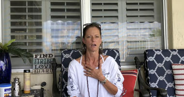 In this image from video posted on YouTube on Aug 11, 2018, Michelle Drapeau, a stomach cancer patient in West Palm Beach, Fla., speaks about her condition.