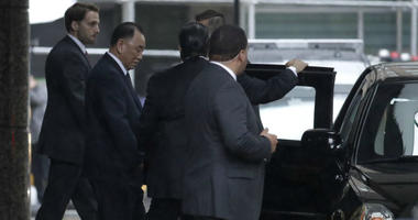 Kim Yong Chol walks out of a building after meeting with U.S. Secretary of State Mike Pompeo