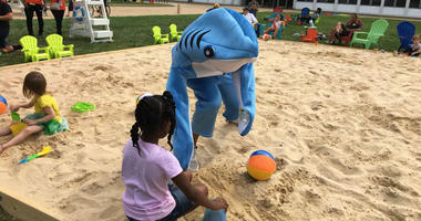 A temporary beach on North Broad Street has a shark mascot.