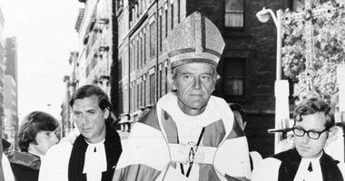 In this Sept. 23, 1972 file photo, The Right Rev. Paul Moore Jr. arrives at the Cathedral of St. John the Divine in New York to be installed as the 13th Episcopal bishop of New York.
