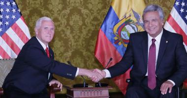 Ecuador's President Lenin Moreno, second right, and his wife Rocio, right, meet with U.S. Vice President Mike Pence, second left, and his wife Karen at the government palace in Quito, Ecuador, Thursday, June 28, 2018.