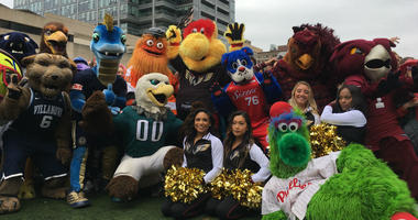 The Philadelphia Wings mascot Wingston is shown with mascot from other Philly professional and college teams.