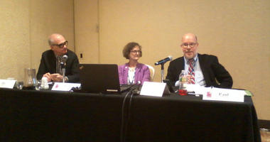 """The panel, """"You're Not From Around Here, Are You? Changing A Culture of Non-Compliance."""" From left to right Joe Friday of the Canadian government ethics commission, Amy, Kurland, and Nick Paul, an Ohio ethics officer."""