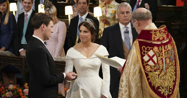 The Rt Revd David Conner, Dean of Windsor conducts the wedding ceremony between Princess Eugenie of York and Jack Brooksbank in St George's Chapel, Windsor Castle, near London, England, Friday Oct. 12, 2018.