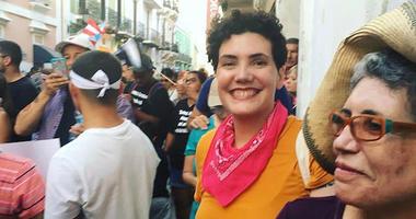 Philadelphia Poet Laureate Raquel Salas Rivera participates in protests in San Juan, Puerto Rico.