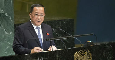 North Korean Foreign Minister Ri Yong Ho addresses the 73rd session of the United Nations General Assembly,Saturday, Sept. 29, 2018 at U.N. headquarters.