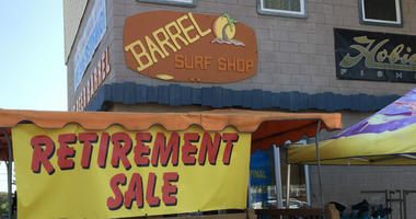 John and Lisa Gabries are retiring after 44 years at the Root Beer Barrel surf shop.