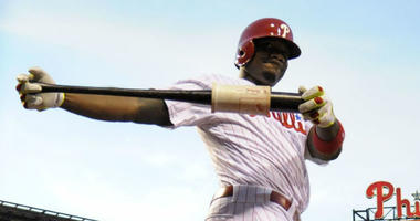 Philadelphia Phillies first baseman Ryan Howard (6) loosens up in the  on deck circle against the Washington Nationals at Citizens Bank Park.
