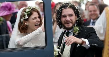 Newlyweds Rose Leslie and Kit Harington depart Saturday after their wedding in Aberdeen, Scotland.