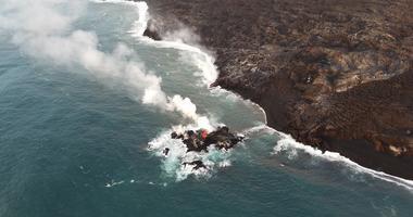 Lava from the Hawaii volcano has created a tiny new island off its coast