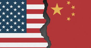 US China Flag Split