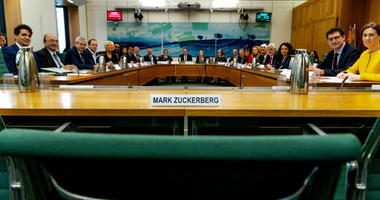 Image of International Grand Committee with representation from 9 Parliaments and Mark Zuckerberg non-attendance on Tuesday  27th November.
