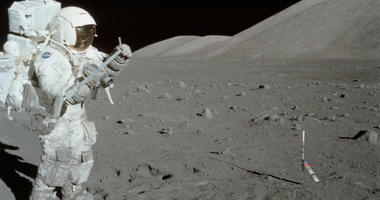 Harrison Schmitt collects lunar rake samples during the first Apollo 17 extravehicular activity.