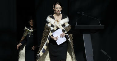New Zealand Prime Minister Jacinda Ardern prepares to speak at the national remembrance service in Christchurch.