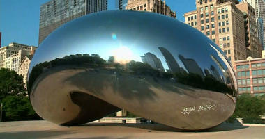 Chicago's Cloud Gate structure, also known as the Bean, was spray painted by vandals early on Tuesday in the city's Millennium Park.