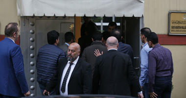 Members of the inspection team enter Saudi Arabia's Consulate in Istanbul, Monday, Oct. 15, 2018.