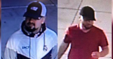 The two individuals shown here are persons of interest in a police investigation of ATM skimmers installed at a credit union in Northeast Philadelphia.