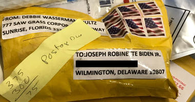 A suspicious package was addressed to Joe Biden in Wilmington, Del.