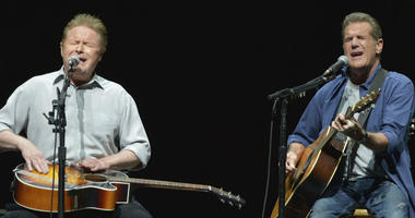 "In this Jan. 15, 2014, file photo, Don Henley, left, and Glenn Frey of The Eagles perform on the ""History of the Eagles"" tour at the Forum in Los Angeles."