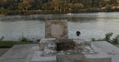 The statue of Thorfinn Karlsefni has been knocked into the Schuylkill River.