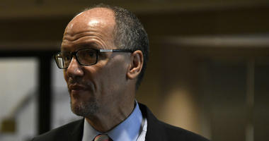 Chairman of the Democratic National Committee Tom Perez pauses after a session during the DNC's summer meeting, Friday, Aug. 24, 2018, in Chicago.