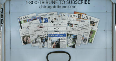 In this July 25, 2007 file photo, the back of a Chicago Tribune newspaper deliver truck is seen in Chicago.