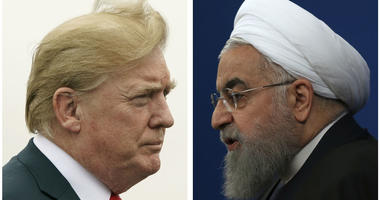 This combination of two pictures shows U.S. President Donald Trump, left, on July 22, 2018, and Iranian President Hassan Rouhani on Feb. 6, 2018.