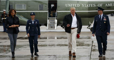 President Donald Trump and first lady Melania Trump board Air Force One for a trip to visit areas affected by Hurricane Michael, Monday, Oct. 15, 2018, in Andrews Air Force Base, Md.