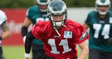 Philadelphia Eagles quarterback Carson Wentz (11) runs during training camp at NovaCare Training Complex in June 2017.