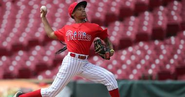 Phillies RBI pitcher Mo'ne Davis (11) delivers to the plate in the fifth inning during regional play the 2017 RBI World Series at Great American Ball Park.