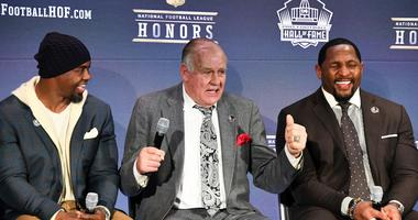 From left: The Pro Football Hall of Fame s Class of 2018 including Brian Dawkins, Jerry Kramer, and Ray Lewis during media availability during the NFL Honors show at Cyrus Northrop Memorial Auditorium at the University of Minnesota.