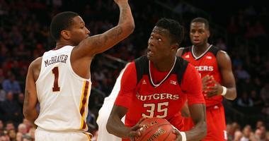 Rutgers Scarlet Knights guard Issa Thiam (35) controls the ball.