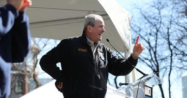 Mar 24, 2018; Newark, WI, USA; New Jersey governor Phil Murphy addresses the crowd at Military Park following the march.