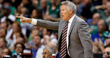 Philadelphia 76ers head coach Brett Brown directs a play against the Boston Celtics during the first half in game five of the second round of the 2018 NBA Playoffs at the TD Garden.