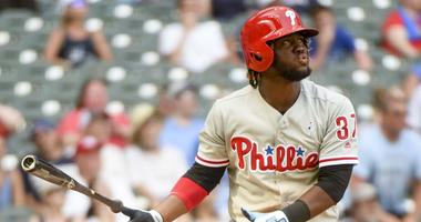 Philadelphia Phillies center fielder Odubel Herrera (37) watches after hitting a solo home run in the ninth inning against the Milwaukee Brewers at Miller Park.